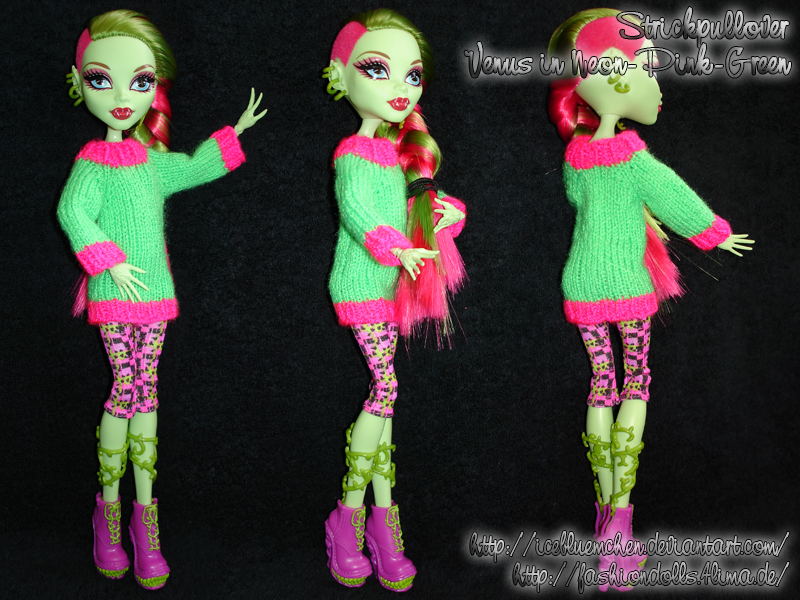 Tiny Sweater - Venus in neon-pink-green