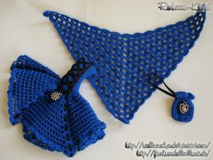 TinySunflower in Royalblau + Dreieckstuch + Ballerina-Schuhe + Handtäschchen